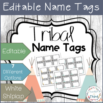 Editable Name Tags - White Shiplap & Tribal Art