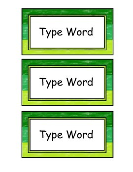 "Editable Name Tags, Word Wall, & Classroom Signs, ""Green"""