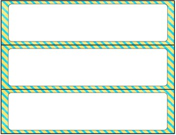 Print Editable Name Tags- Yellow and Teal Stripes