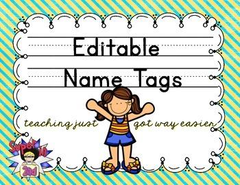 Print Editable Name Tags- Yellow and Teal Stripes
