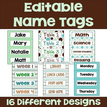 Editable Name Tags and Desk Plates in Chocolate Mint