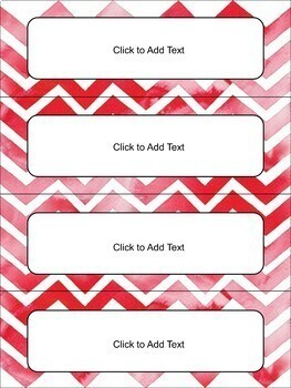 Editable Name Tags and Desk Plates in Watercolor Chevron
