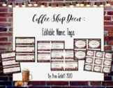 Coffee Shop Decor: Editable Name Tags and Labels