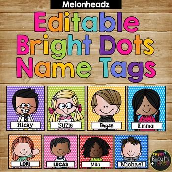 Editable Name Tags and Labels Melonheadz BRIGHT Polka Dots {168 Kids}