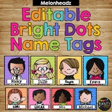 Editable Name Tags and Labels Melonheadz BRIGHT Polka Dots {168 Kids}