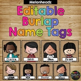 Editable Name Tags and Labels Melonheadz Burlap {168 Kids}