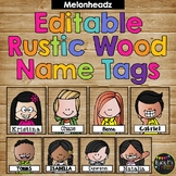 Editable Name Tags and Labels Melonheadz Rustic Wood Theme {168 Kids}