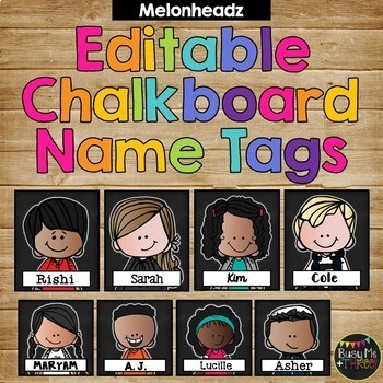 Editable Name Tags and Labels Melonheadz and Chalkboard Theme {168 Kids}