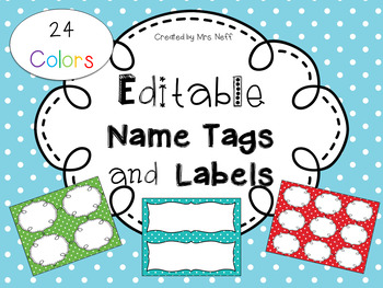Editable Name Tags and Labels with 24 Colors of Polka Dot Backgrounds
