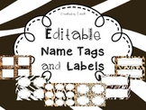 Editable Name Tags and Labels with Animal Print Themes