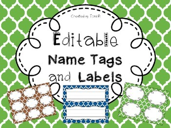 Editable Name Tags and Labels with Green, Brown, and Blue