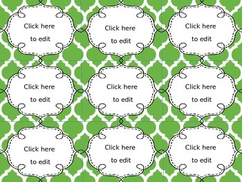 Editable Name Tags and Labels with Green, Brown, and Blue Moroccan Backgrounds