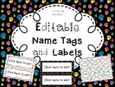 Editable Name Tags and Labels with Paw Print Backgrounds