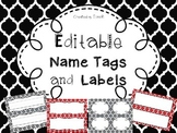Editable Name Tags and Labels with Red, Black, and Gray Moroccan Backgrounds