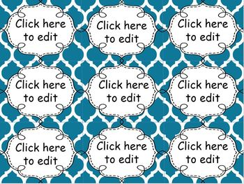 Editable Name Tags and Labels with Shades of Blue Moroccan Backgrounds