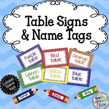 Editable Name Tags and Table Signs