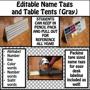 Editable Name Tags and Table Tents (Gray)
