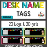 Chalkboard Brights Editable Name Tags