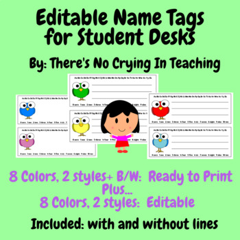 Name Tags for Student Desks (Editable):  Cute Birds