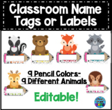Editable Name Tags or Labels Woodland Animals