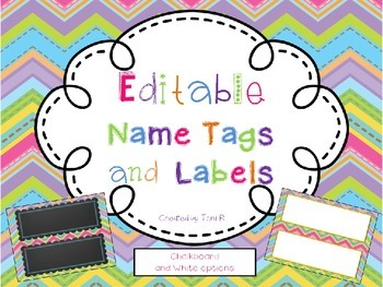 Editable Name Tags with Bright Chevron Background