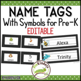 Editable Name Tags with Picture Symbols for Pre-K, Preschool