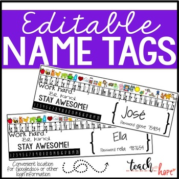 Editable Name Tags with password information, number line and alphabet
