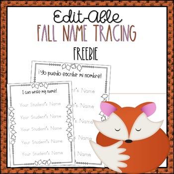 *Editable* Preschool or Kindergarten Name Tracing Printable Sheet, Fall Themed