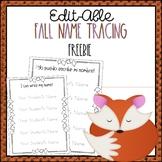 Editable Fall Name Tracing Practice