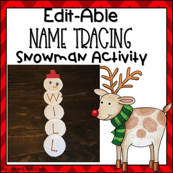 Editable Name Tracing Practice Snowman Building Activity