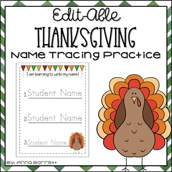Editable Name Tracing Practice (Thanksgiving)