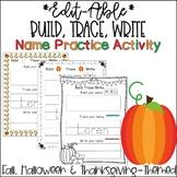 Fall, Halloween and Thanksgiving Themed Editable Name Tracing Sheets
