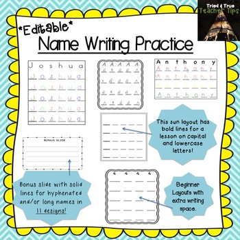 Editable Name Writing Practice 125 Pages!