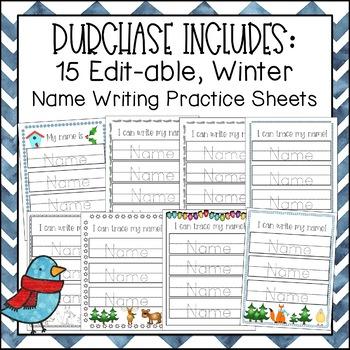 Editable Name Writing Practice (Winter)
