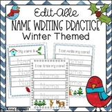 Editable Name Writing Practice (Winter)