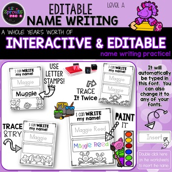 editable name writing worksheets preschool prek kindergarten. Black Bedroom Furniture Sets. Home Design Ideas