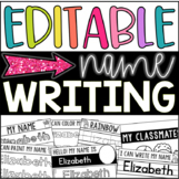 Editable Name Writing Practice Printables (Kindergarten - Back to School)