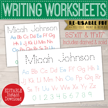 Editable Name Writing Worksheet, Alphabet Handwriting Worksheet Reusable