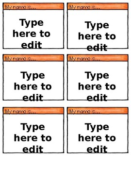 Editable Name tags - Back to School