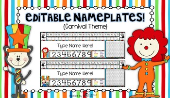 Editable Nameplates for Back to School Carnival Circus Theme