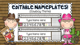 Editable Nameplates for Back to School Cowboy Theme