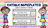 Editable Nameplates for Back to School Neon Chevron Theme