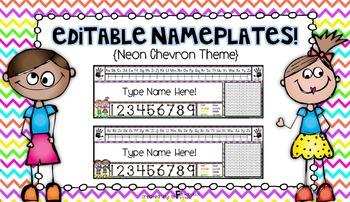 Editable Nameplates for Back to School Neon Chevron Theme