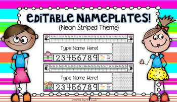 Editable Nameplates for Back to School Neon Striped Theme