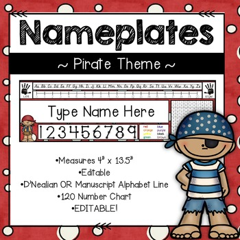 Editable Nameplates for Back to School Pirate Theme