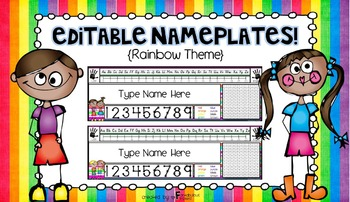 Editable Nameplates for Back to School Rainbow Theme