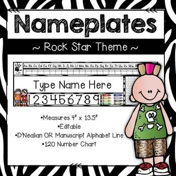 Editable Nameplates for Back to School Rock Star Theme
