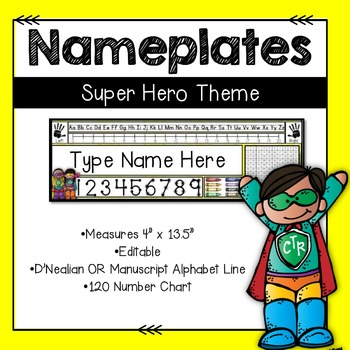Editable Nameplates for Back to School Super Hero Theme