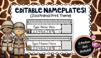 Editable Nameplates for Back to School Zoo Animal Theme