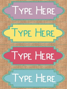 Editable Nameplates and Classroom Labels for Shabby Chic Lovers